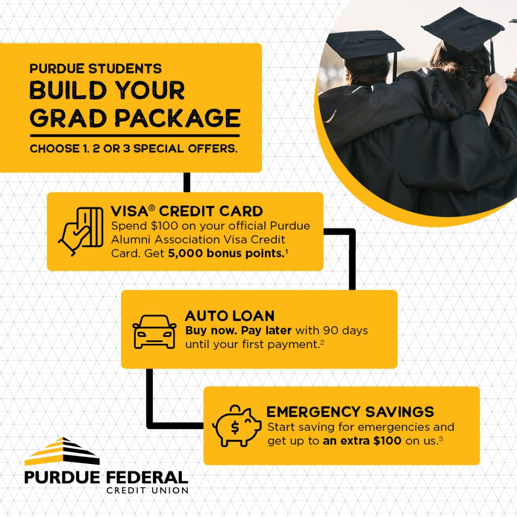 special offers from Purdue Federal include a visa credit card with 5000 bonus points, an auto loan with 90 days until your first payment, and up to $100 emergency savings courtesy of purdue federal