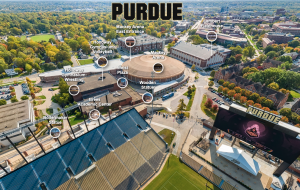 aerial view of campus with tour options