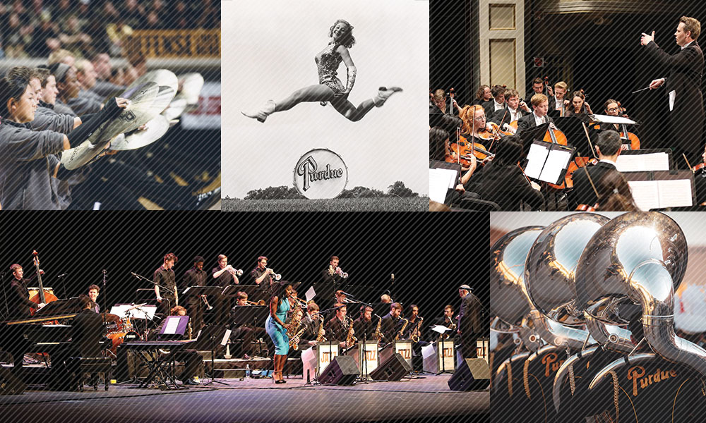 photo collage of purdue bands and orchestra performances