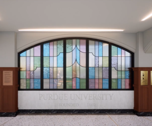 rendering of the union stained glass window feature