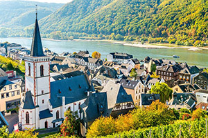 town overlooking the rhine river